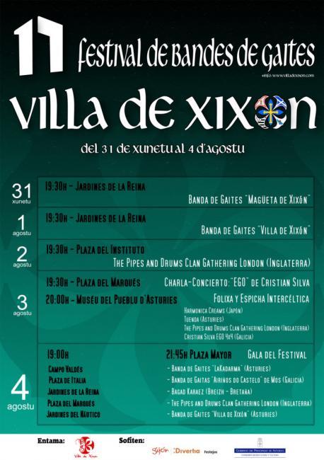 Cartelu del XVII Festival Internacional de Bandas de Gaitas Villa de Xixón
