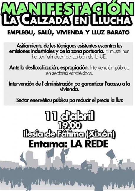 Cartelu manifestación 'La Calzada en llucha'