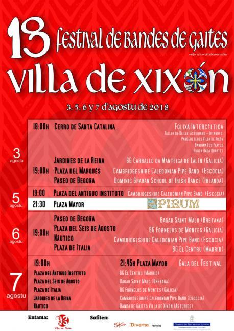 Cartelu XVIII Festival Internacional de Bandes de Gaites Villa de Xixón