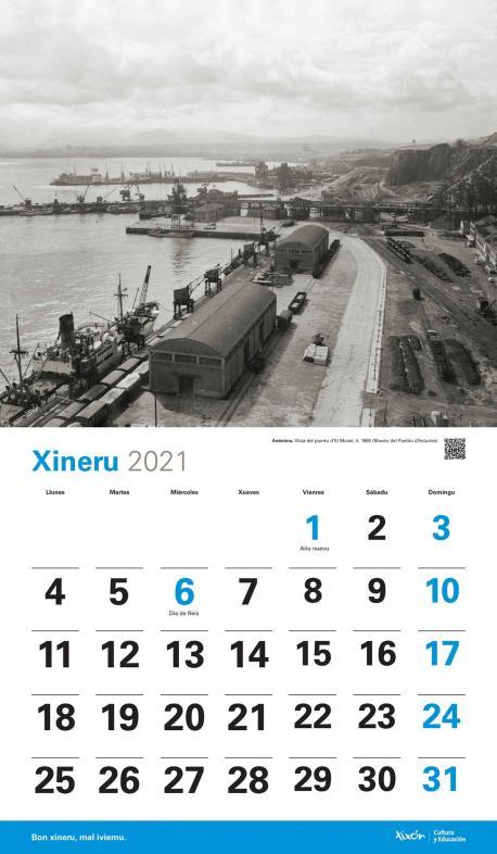 Calendariu 2021 'Xixón Años 60' xineru El Musel 1965