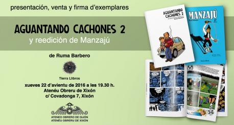 Ruma Barbero firma exemplares de 'Aguantando Cachones 2' nel Atenéu Obreru