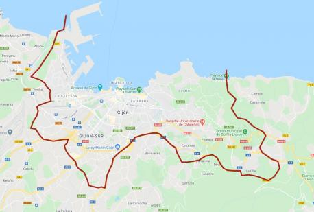 Mapa zona confinada de Xixón
