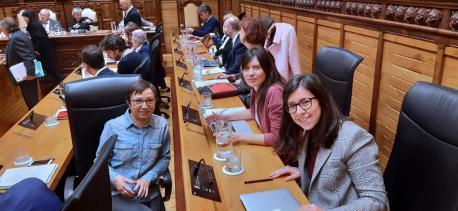 Yolanda Huergo, Laura Tuero y Alba González Sanz grupu municipal Podemos-EQUO